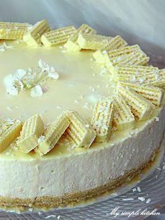 My simple kitchen: Sernik na zimno Princessa kokosowa Polish Desserts, Food Cakes, Camembert Cheese, Cake Recipes, Cheesecake, Food And Drink, Cupcakes, Sweets, Baking