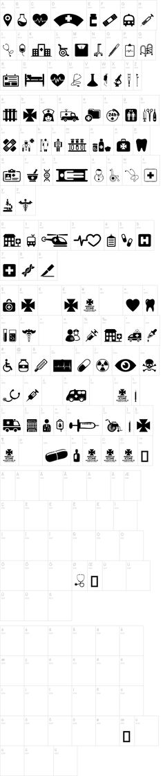 Hospital Icons font, Medical dingbats. Pharmacy font, pharmacy icons