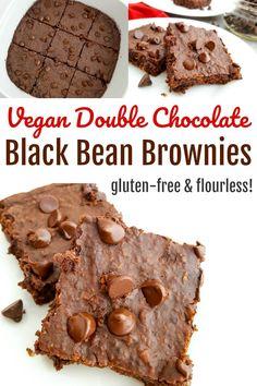 Vegan Double Chocolate Black Bean Brownies - Gluten-free and flourless!