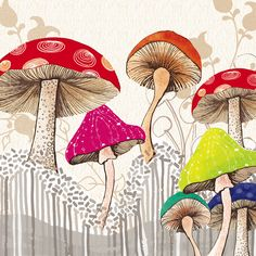 Amanda Dilworth - just love her illustrations Mushroom Drawing, Mushroom Art, Illustrations, Illustration Art, Guache, China Painting, Psychedelic Art, Wall Collage, Art Lessons