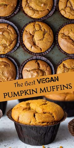 Vegan Pumpkin Muffins - Domestic Gothess Vegan pumpkin muffins - these amazing vegan pumpkin spice muffins are moist, soft, flavourful and so quick and easy to make! They also use a full can of pumpkin puree! Eggless and dairy-free. Pumpkin Puree Recipes, Homemade Pumpkin Puree, Dairy Free Pumpkin Recipes, Vegan Dessert Recipes, Pureed Food Recipes, Vegan Treats, Vegan Foods, Best Pumpkin Muffins, Pumpkin Waffles