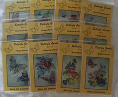 Quilt Patterns Butterfly Garden Black Cat Creations Set of 12 Crayon Embroidery