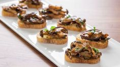 Make this simple mushroom bruschetta recipe with high quality mushrooms, olive oil, and balsamic vinegar. Get the recipe at PBS Food.
