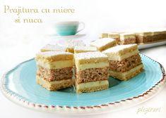 Prajitura cu miere si nuca Romanian Desserts, Food Cakes, Cake Cookies, Vanilla Cake, Tiramisu, Cake Recipes, Sweet Treats, Cheesecake, Cooking
