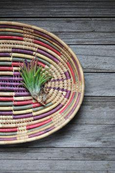 southwestern wrapped straw basket by klinker on Etsy, $22.00