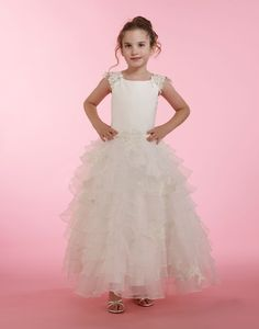 Couture-Designer Girls Dress Style 1879 - Cap Sleeve Lace Dress with Tiered Organza Skirt in Choice Girls Designer Dresses, White Flower Girl Dresses, Cap Sleeves, Lace Dress, Appreciation, Couture, Eyes, Princess, Wedding Dresses