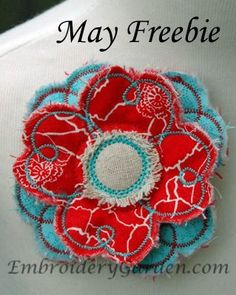 Shabby, Raggy Flower Machine Embroidery Design by Embroidery Garden
