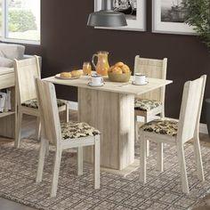 Conjunto para Sala de Jantar Mesa e 4 Cadeira Lexy Madesa Acácia/ Bege Marrom
