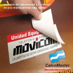 Calco / Calcomania impresa a 2 colores para poner debajo vidrio. Calcomanias CalcoMaster