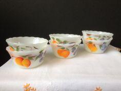 Fire King  Gay Fad  Fruits  Custard Cups  Set of Six  by nddevens, $30.00