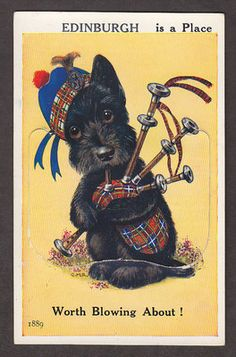 Scottie Dog, Bagpipe, Views of Edinburgh Scotland postcard, 1889,
