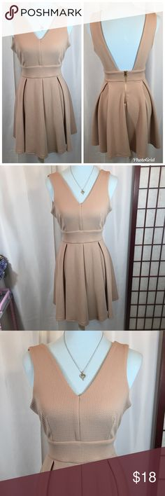"🌸Haute Monde fit and flare nude dress size M🌸 Approx Measurements   Bust: 30"" Length: 33"" Waist: 24""  Brand: Haute Monde  Size: M Fabric: 95% Polyester, 5% Spandex  Condition: Like New, Really Good   Tags: waffle knit, skater dress, date night, girl's night, Victoria's Secret Haute Monde Dresses"