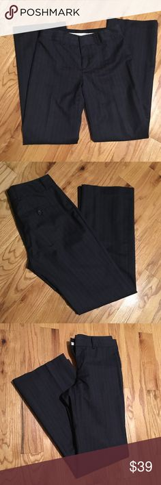 """Sz 6R Banana Republic pinstriped pants- Martin Fit Fantastic like new condition. 99% wool, 1% other fiber. Absolutely great pants. Martin Fit. 32"""" inseam. I used to have the matching blazer but I actually donated it to a refugee family, but she couldn't take the pants because they were too long! So they're yours if you want them!! Banana Republic Pants Trousers"""