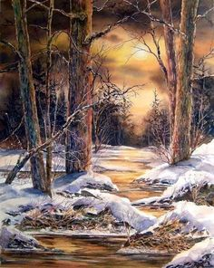 A Lovely Painting Watercolor Landscape, Landscape Art, Landscape Paintings, Winter Painting, Winter Art, Winter Scene Paintings, Winter Pictures, Art Pictures, Bob Ross Paintings
