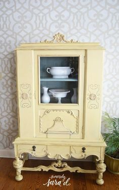 Painted Yellow Hutch & Stenciled Wall
