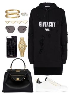 """""""Untitled #417"""" by naomiariel ❤ liked on Polyvore featuring Dsquared2, Givenchy, Dolce&Gabbana, Fendi, Rolex, Gentle Monster, Ana Khouri, Cartier and Brash Bijoux"""