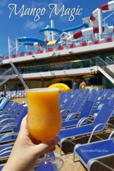 How to make a Mango Magic Frozen Cocktail Recipe that will remind you of your favorite cruise on Carnival Cruise Line! This frozen tropical cocktail is super easy to make and tastes amazing! Limeade Drinks, Mango Drinks, Summer Drinks, Frozen Mixed Drinks, Frozen Cocktails, Cocktail And Mocktail, Cocktail Recipes, Mango Cocktail, Mango Magic Tropical Smoothie Recipe