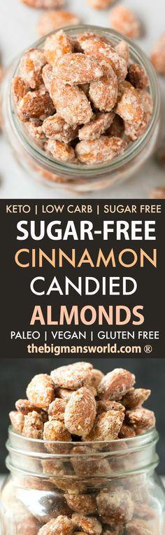 Sugar Free Cinnamon Candied Almonds are your easy 5-minute holiday dessert or snack recipe made stovetop or skillet- 100% sugar free, low carb and paleo and vegan- The healthy cinnamon almonds recipe! #keto #paleo #Thanksgiving #Christmas #candiedalmonds #skilletalmonds #candiednuts #sugarfree
