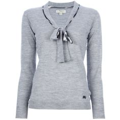 BURBERRY LONDON checked pussy bow sweater ($485) ❤ liked on Polyvore