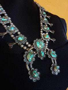 162g Old Pawn Vintage Navajo Sterling Silver Squash Blossom Necklace w 16 Pilot Mountain Turquoise Stones. Classic Design for The Ages!