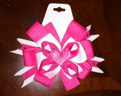 Hot Pink and White Hairbow./cute for valentines day <3