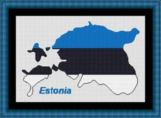 ESTONIA / estonie map-Counted cross stitch by LudivinePointDeCroix