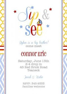 Modern chevron stripes blue, red, yellow; Sip and See Sailboat Boy Shower From Little Angel Announcements