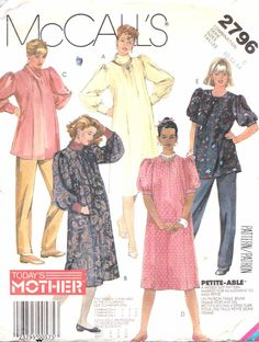 McCall's Sewing Pattern 2796 Misses Size 10-14 Maternity Dress Top Pants Sleeve Neck Options