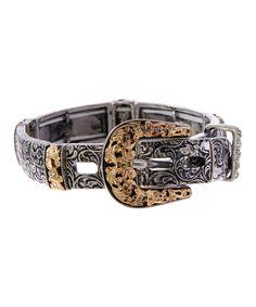 Look at this #zulilyfind! Silvertone Embossed Buckle Stretch Bracelet by Wyo-Horse Jewelry #zulilyfinds