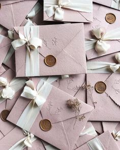 Dusty pink wedding invitations on handmade paper envelopes embossed with . - Dusty pink wedding invitations on handmade paper envelopes embossed silk ribbon and custom wax seal - Wedding Invitation Video, Handmade Wedding Invitations, Pink Invitations, Watercolor Wedding Invitations, Elegant Wedding Invitations, Wedding Stationary, Invitation Kits, Wedding Invitation Envelopes, Invites