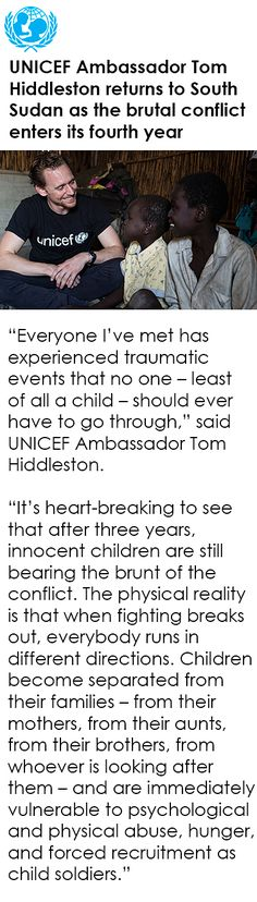 UNICEF Ambassador Tom Hiddleston returns to South Sudan as the brutal conflict enters its fourth year. Link: https://www.unicef.org/media/media_93460.html