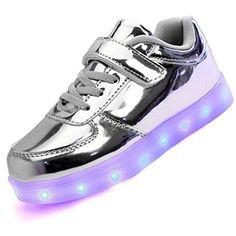 Topteck Kid Jungen Mädchen USB Lade LED leuchten Sport Laufschuhe Lumious Flashing Turnschuhe, Silber - http://on-line-kaufen.de/topteck/topteck-kid-jungen-maedchen-usb-lade-led-leuchten-2