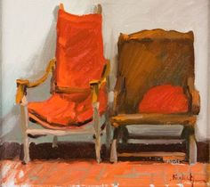 Kim English Sketch Painting, Figure Painting, Kim English, Orange Painting, Pick A Seat, Art Interiors, Red Chairs, Life Paint, Orange Art