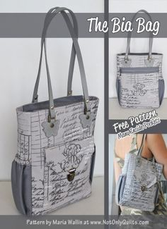 A free bag pattern by Maria Wallin of Not Only Quilts. I love the many different styles of pockets incorporated into this handbag design. The placements of these pockets are very well thought out. Two thumbs up for this handbag sewing pattern.