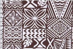 "Samoan Brown Tattoo Poly Cotton Fabric Print 60"""