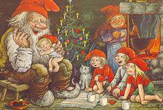 Rolf Lidberg Father Gnome Tells A Story Christmas Illustration, Children's Book Illustration, Illustrations, Scandinavian Art, Scandinavian Christmas, Baumgarten, Kobold, Creation Photo, Magical Creatures