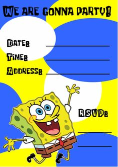 Download Now Free Printable Spongebob Birthday Invitations  Download this invitation for FREE at http://www.bagvania.com/free-printable-spongebob-birthday-invitations.html