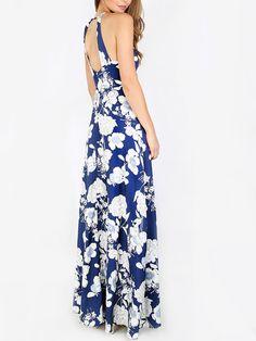 bade8953d6d0 Blue Halter Neck Floral Print Maxi Dress -SheIn(Sheinside)