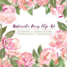 Peony Floral Watercolor Leaves Clip Art Set Garden by WPAtelier