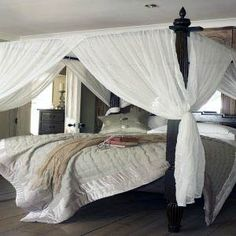 Boho Bedroom With Bright Red Canopy And Wooden Four Poster Bed. Bedroom Gallery at Red Canopy Bed Curtains Canopy Bed Curtains, Diy Curtains, Curtains Walmart, Ikea, Four Poster Bed, Curtain Lights, Queen, Outdoor Furniture