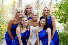 Royal blue wedding, Prairie View Golf Club, Carmel, Indiana, no veil on the bride. Bright blue shoes! Fall colors, October wedding.