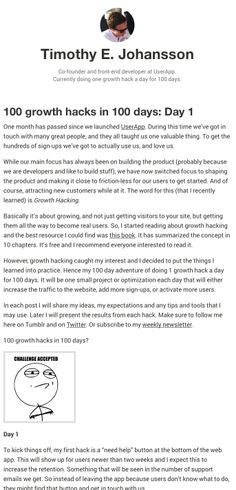 100 growth hacks in 100 days by Timothy E. Johansson