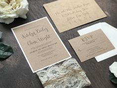 Rustic Kraft Wedding Invitation Set with Ivory Lace Wrap and Twine, Rustic Elegant Invite, Country Chic, Vintage Romantic Barn Wedding Winery Wedding Invitations, Glitter Wedding Invitations, Wedding Invitation Sets, Elegant Wedding Invitations, Chic Wedding, Floral Wedding, Rustic Wedding, Lace Wedding, Wedding Ideas