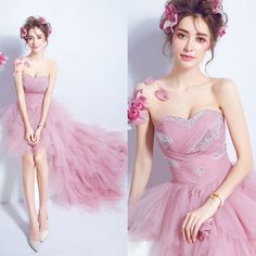 Pink Tube Top Front short back long Trailing bride wedding dress