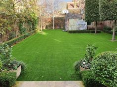 A lovely artificial lawn installed by Trulawn with tidy edges against the box hedges and wrapped around the trees.
