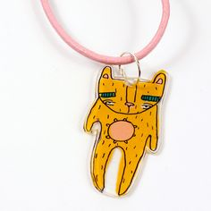 This cute little Mustard bear hangs on a baby pink cord necklace. He's cute and he's quirky! The illustrations are drawn onto Shrink Plastic before being painted by hand. Shrink Plastic, Mustard, Handmade Items, Joy, Bear, Pendant, Cute, Pink, Accessories