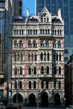 The Old Melbourne Safety Deposit Building Gothic architecture designed by William Pitt,  1890 / Queen St. Melbourne. #Australia