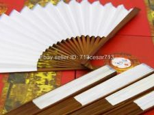 50 x Set Lot WHITE Bamboo Wood Paper Wedding Party Hand Fan Decoration NEW $75 (50 ct)