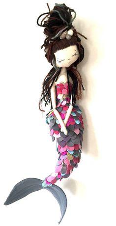 Mermaid handmade cloth doll art doll limited edition