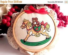Teddy Bear Rocking Horse Christmas Tree Ornament Vintage